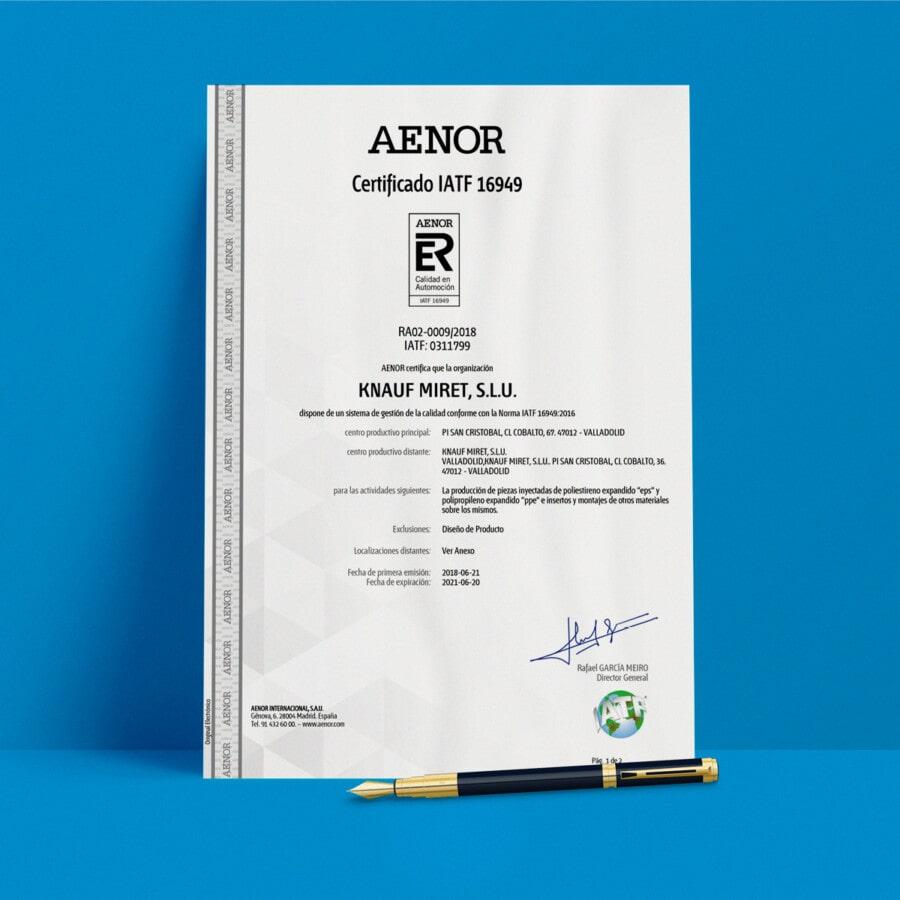 Certificados IATF de automoción de Knauf Industries España