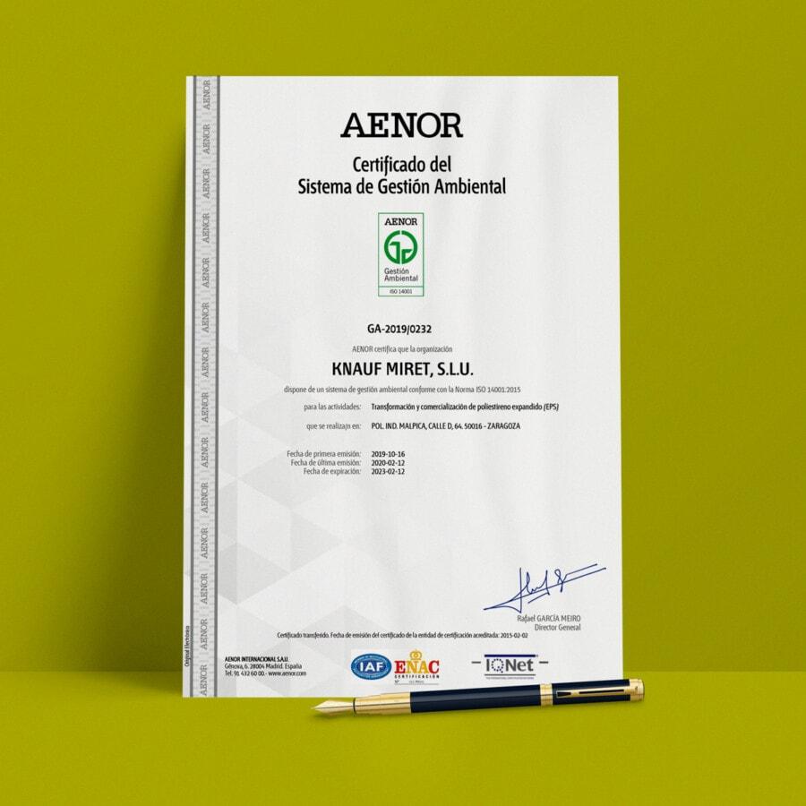 Certificaciones ISO 14001 Knauf Industries